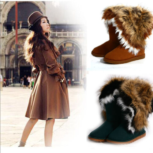 New Hot Winter Soft Warm Women Faux Rabbit Fox Knee high Snow Boots Flat Shoes in Clothing, Shoes & Accessories, Women's Shoes, Boots | eBay
