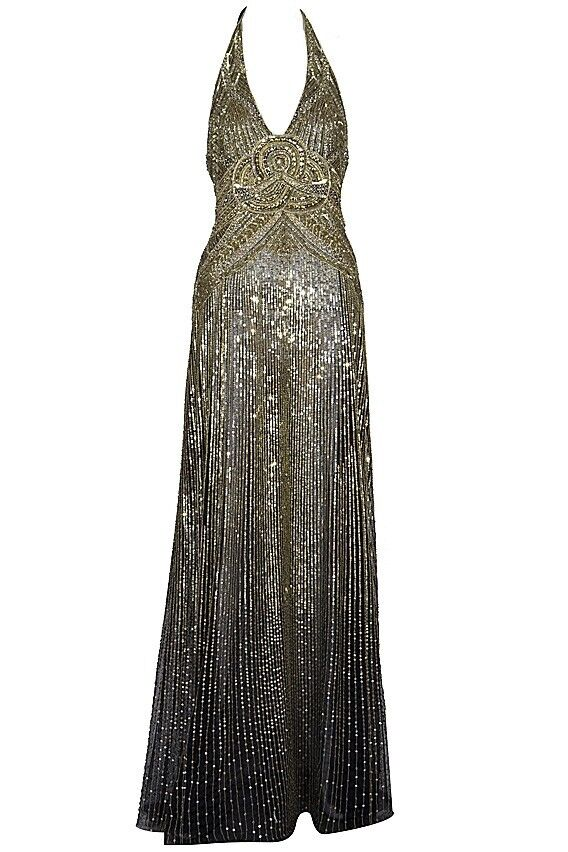 New Jenny Packham Gold And Black Beaded Sequin Dress Gown Kate On