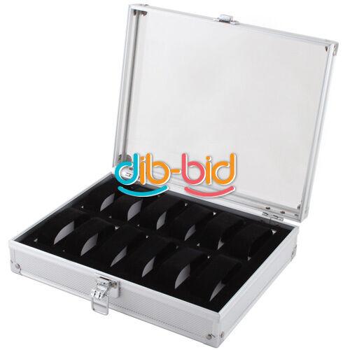 New Jewelry 12 Grid Slots Watches Display Storage Box Case Aluminium Square