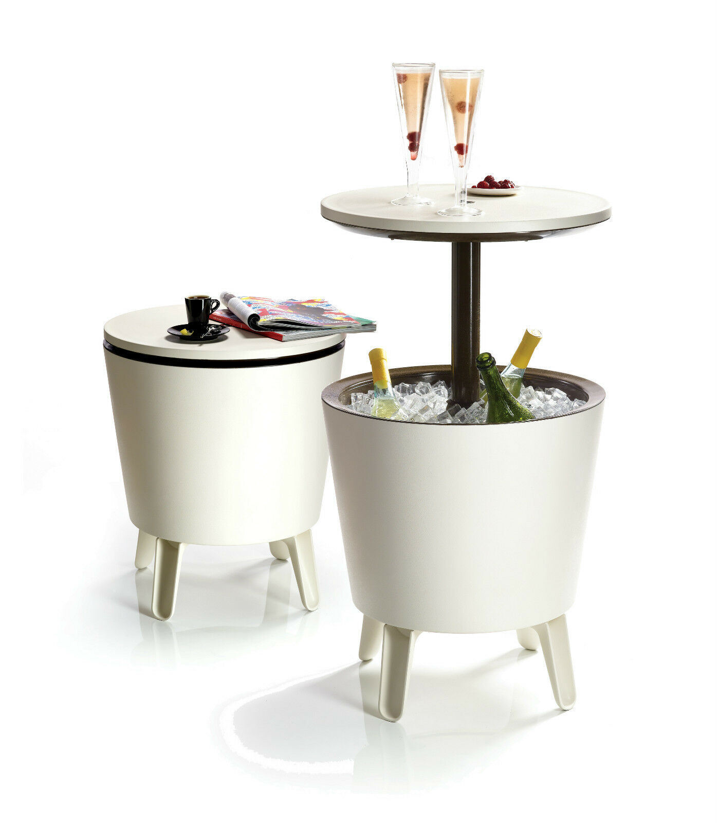 Keter coolbar patio drinks cooler cocktail coffee party for Outdoor coffee table with cooler