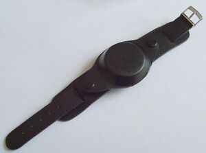 New-Leather-Black-Millitary-Watch-Strap-Cover-18mm-Steel