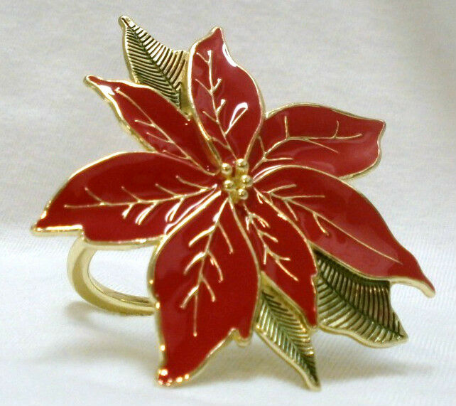 New Lenox Holiday Christmas Poinsettia 4 Table Napkin Ring