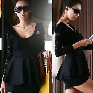 Long Sleeve Black Lace Dress on New Long Sleeve Sexy Black Lace Clubwear Clubbing Cocktail Party Mini