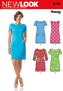 New-Look-6176-Sewing-Pattern-Easy-Shift-Dress-Sleeve-Options-Ladies-Size-8-18