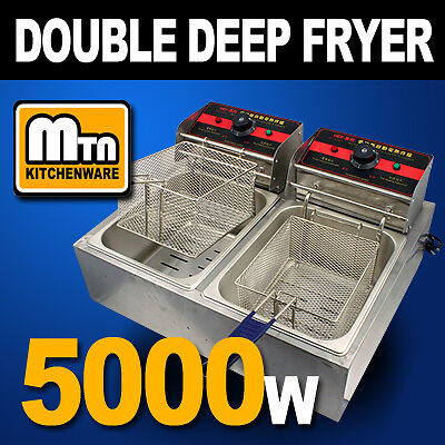 Commercial Countertop Table Electric Double Tank Deep Fryer