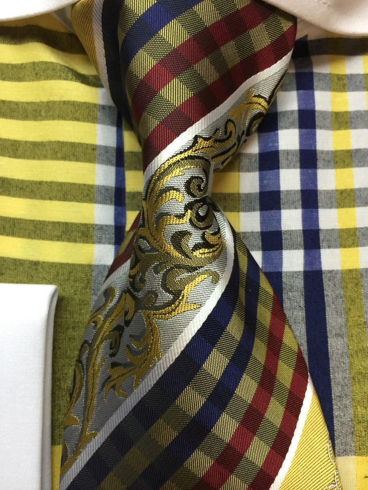 Men 39 s check design dress shirt french cuff with tie hanky for New check designs