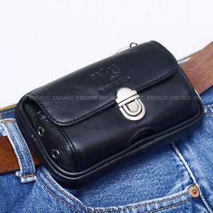 new mens genuine leather pocket belt loops waist bag pouch