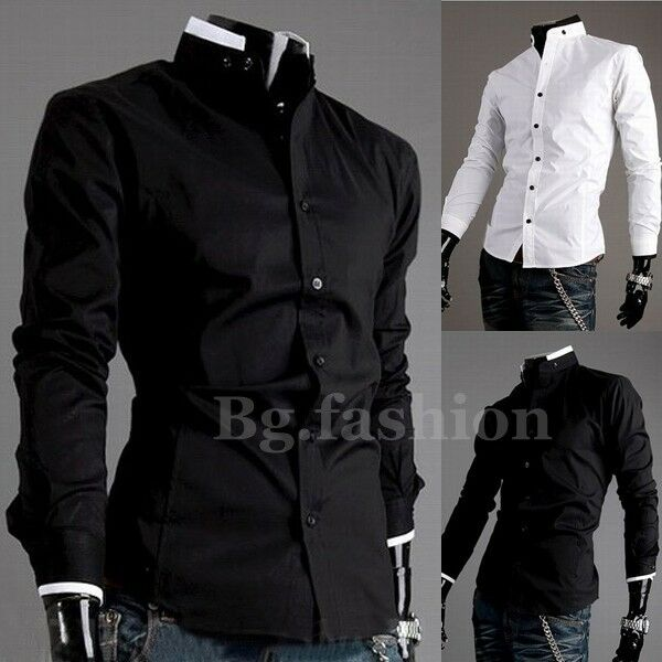 New Mens Luxury Casual Slim Fit Stylish Long Sleeve Dress Shirts 2 Colors 3Size