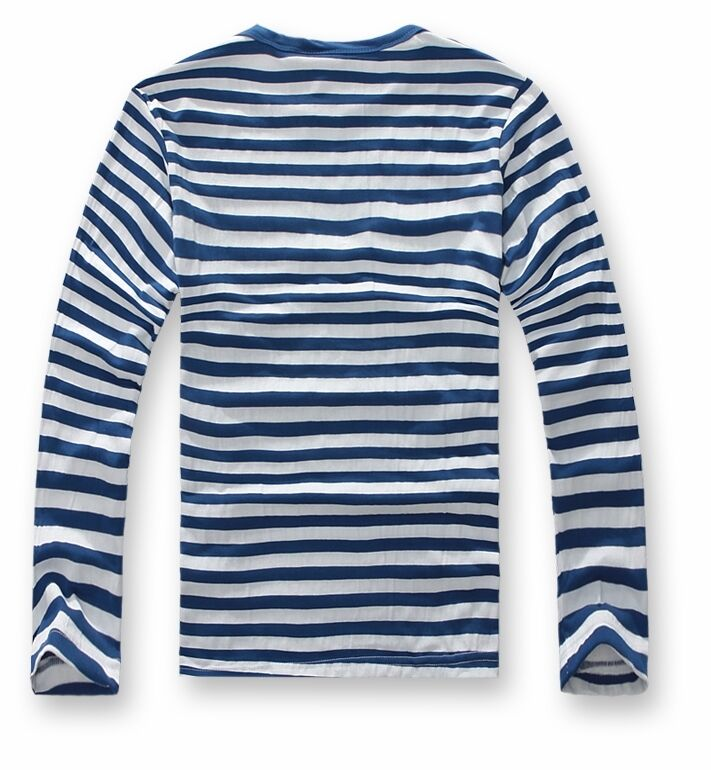 New mens long sleeve t shirts man tees crew neck striped for Blue and white striped long sleeve t shirt