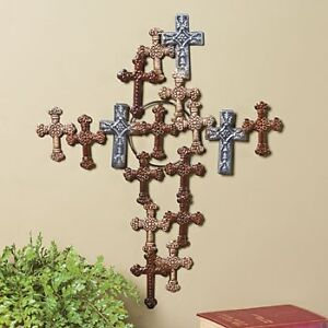 New metal cross made of crosses wall hanging accent home for Cross decorations for home