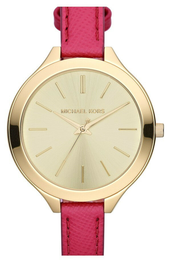 New Michael Kors MK2298 Runway Slim Runway Gold-Tone Hot Pink Leather Watch