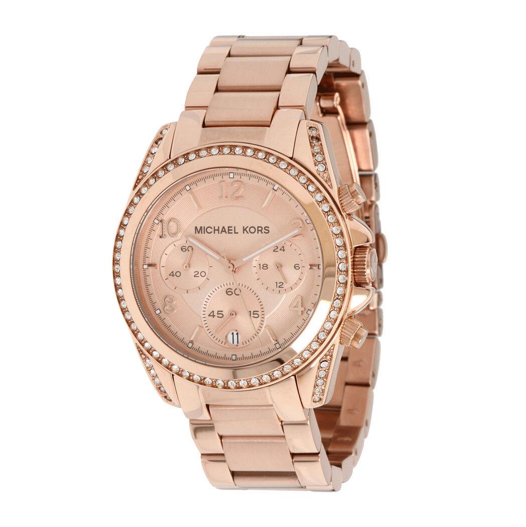 New Michael Kors MK5263 Chronograph Blair Rose Gold Tone Ladies Watch 41mm