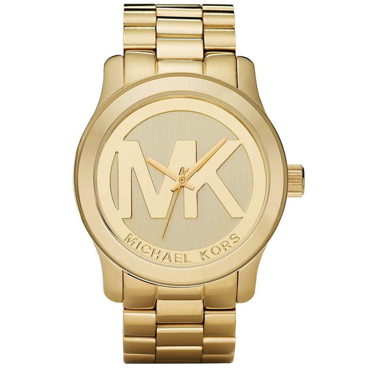 Michael Kors MK5473 Goldtone Oversized Unisex Runway Logo Watch   eBay