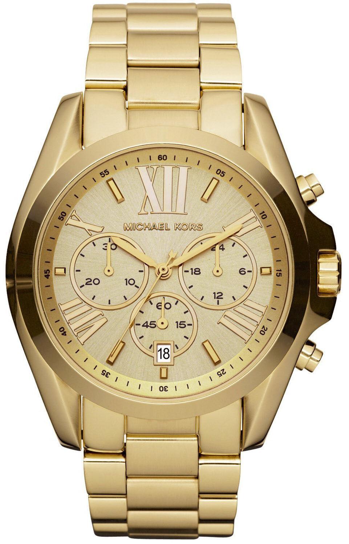 New Michael Kors MK5605 Women's Chronograph Bradshaw Gold-Tone Watch