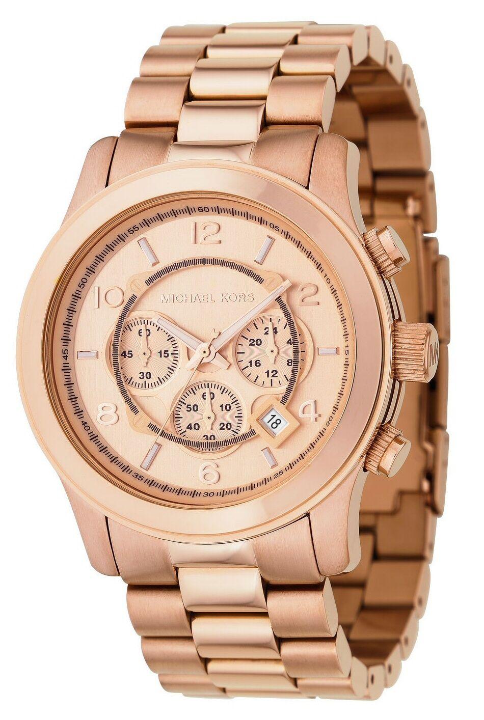 New Michael Kors, MK8096 Men's Runway Rose Gold Stainless Steel Bracelet Watch