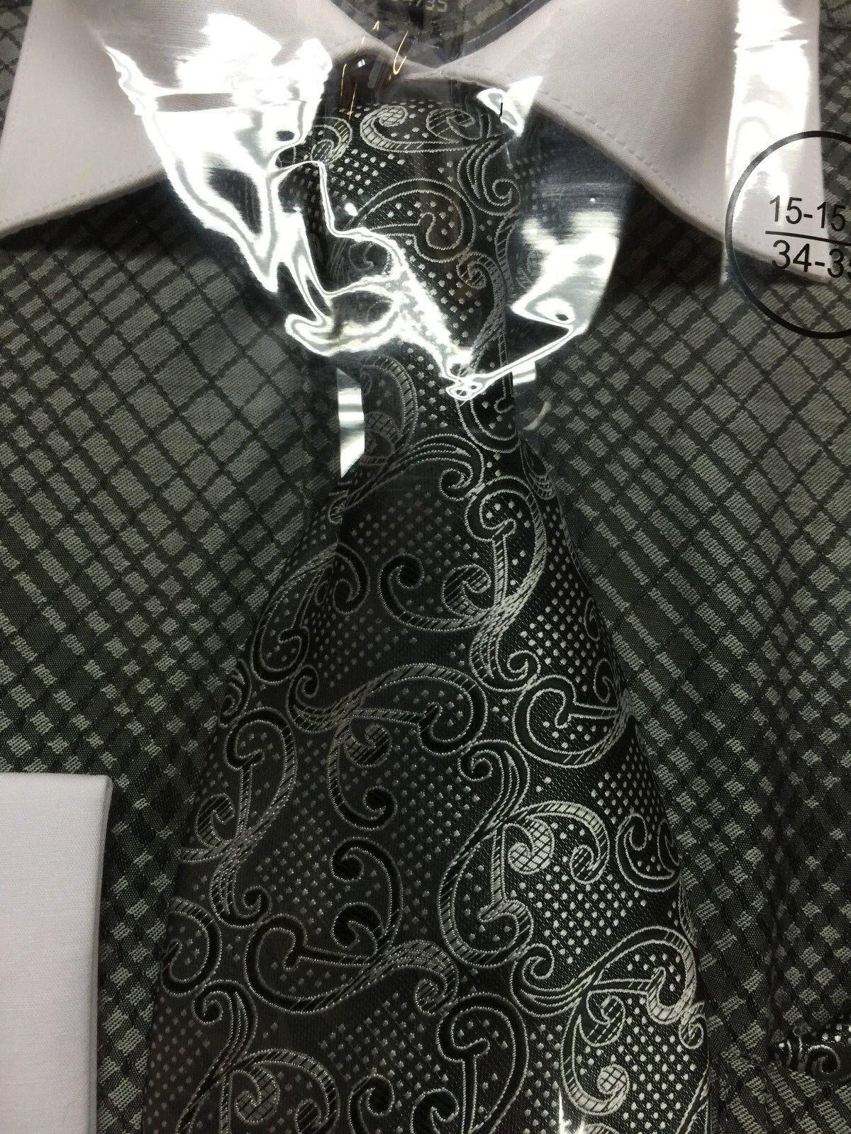 New mini plaid check design dress shirt french cuff white for Small collar dress shirt