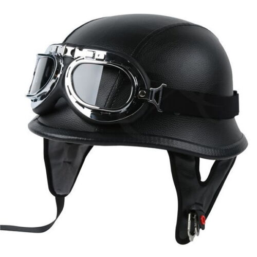 dot motorcycle german style black leather half helmet w pilot goggles new m l xl ebay. Black Bedroom Furniture Sets. Home Design Ideas