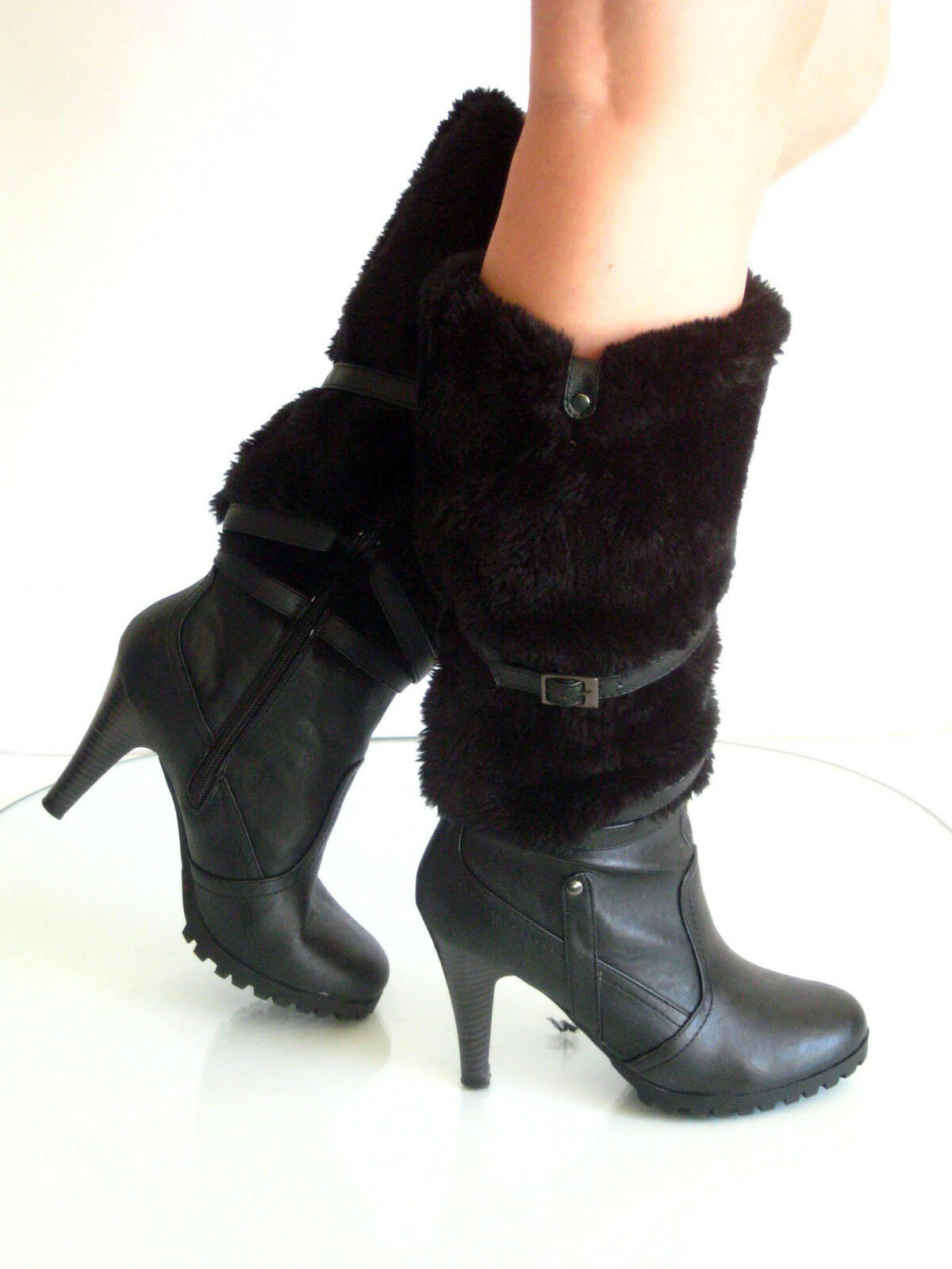 new multi straps fur eskimo knee high heels boots humble