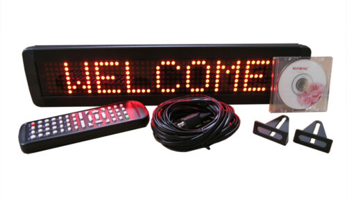 "New! One Line Indoor RED LED Programmable Scrolling Message Display Sign 17""x4"" in Business & Industrial, Retail & Services, Business Signs 