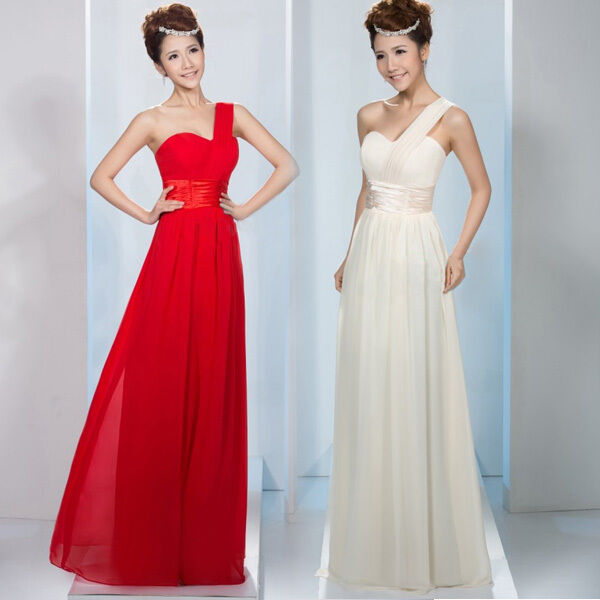 One-shoulder Evening Dress Formal Ball Gown Bridal Bridesmaid Wedding Party