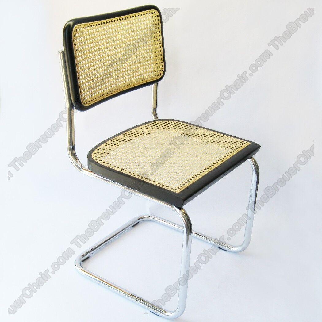 Marcel Breuer Cesca Cane Side Chair in Honey Oak w/ Chrome ...