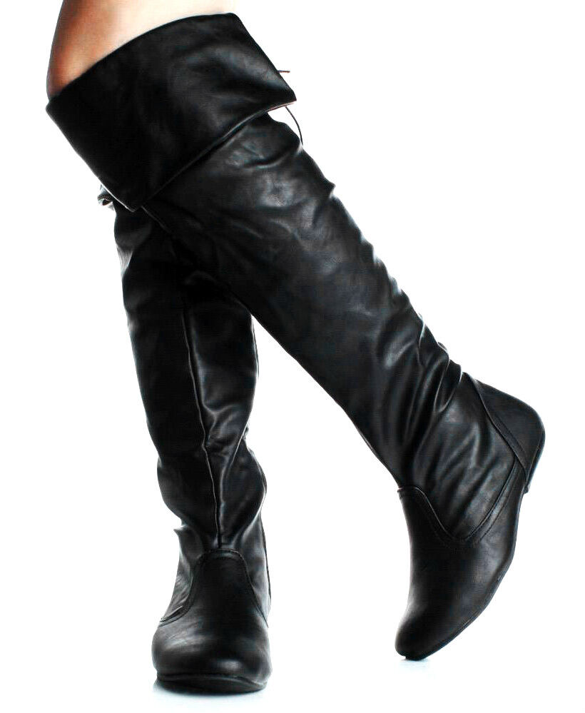 new the knee high boots flat heels lace back
