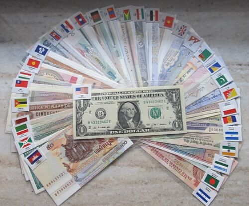 New Paper Money 100 World Banknotes UNC from 50 countries in Coins & Paper Money, Paper Money: World, Collections, Lots | eBay