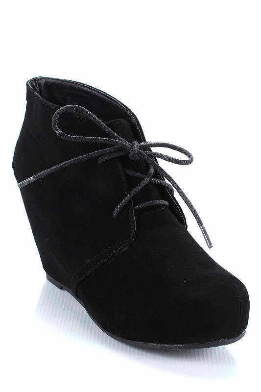 cde265a63db New Platform Hidden Wedge Lace Up Booties Ankle Boots Shoes Leopard ...