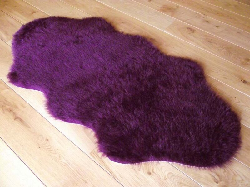 new plum colour fluffy bedroom faux fur fake sheepskin rugs washable hairy mats ebay. Black Bedroom Furniture Sets. Home Design Ideas