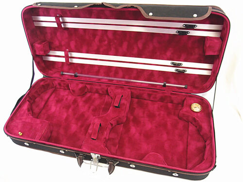 New Pro. 4/4 Wooden Two Double Violin Case + free violin strings set - Limited in Musical Instruments & Gear, String, Violin | eBay