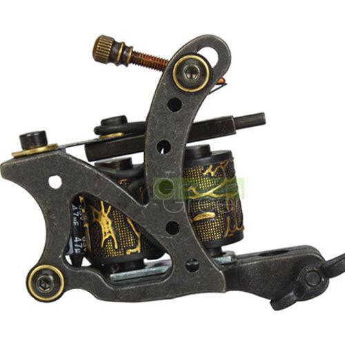 New Pro Tattoo Machine Gun Shader Liner 10 Wrap Coils Alloy Black