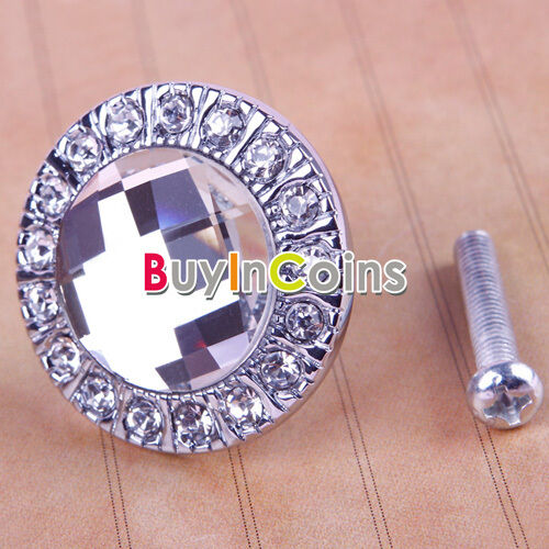 New Round Clear Crystal Glass Drawer Cabinet Knob Pull Handle Cupboard Wardrobe