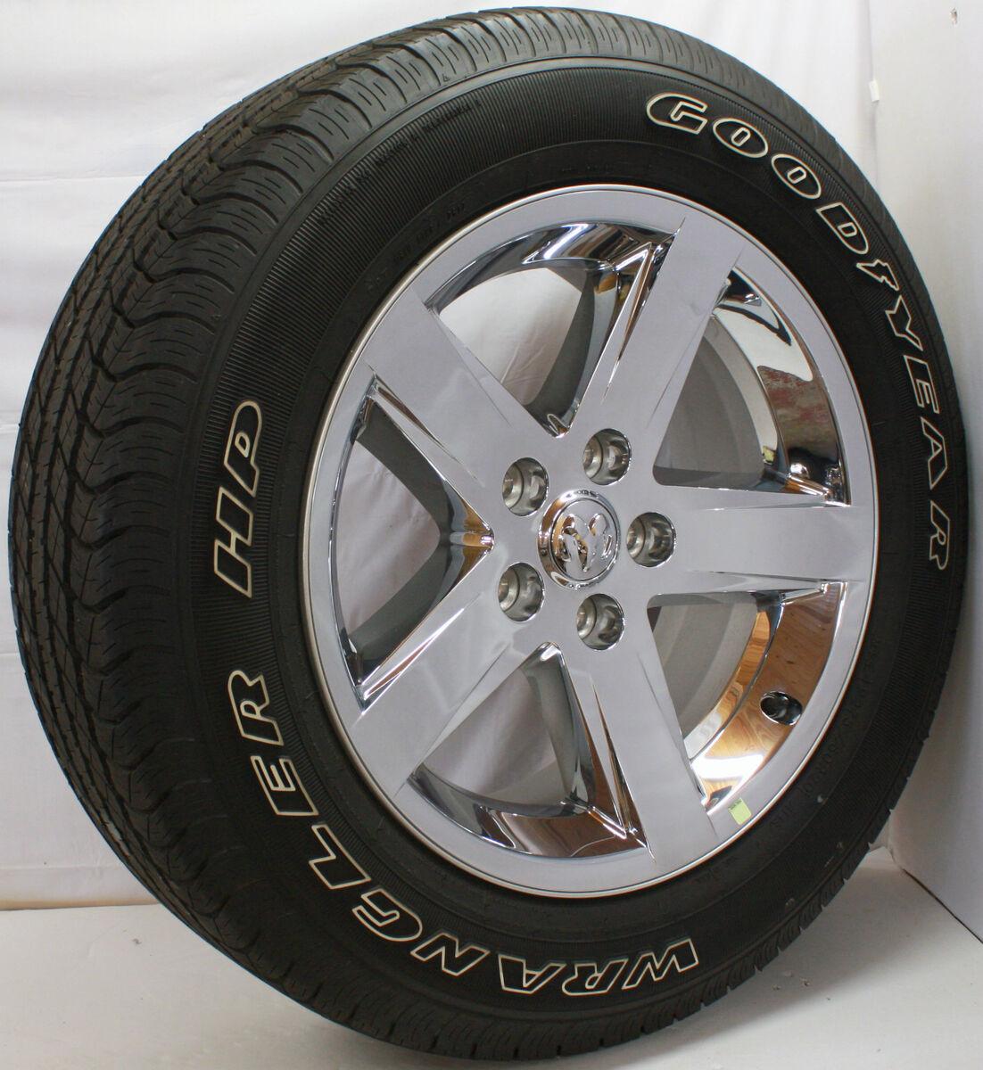 "New Set 4 2013 Dodge RAM 1500 Chrome Clad 20"" Wheels Rims Goodyear Tires"