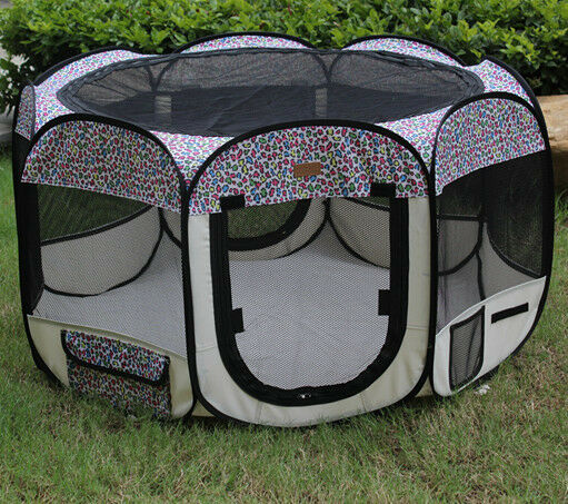 New Small Pink Leopard Pet Dog Cat Tent Playpen Exercise Play Pen Soft Crate