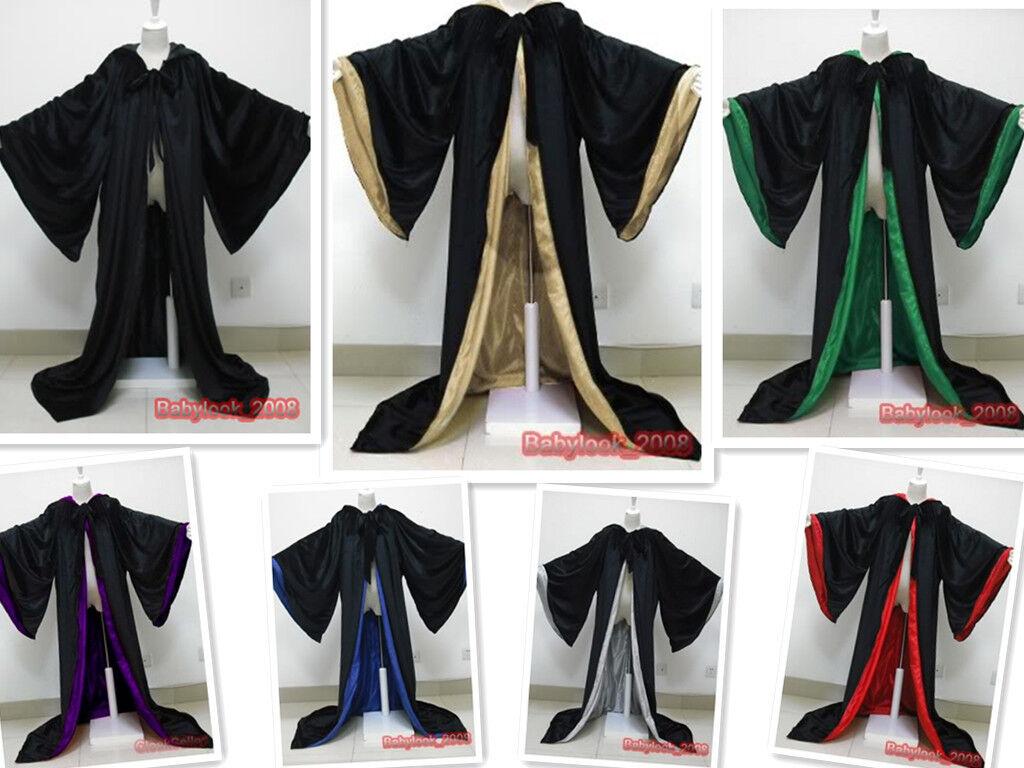 Medieval Black Hooded PAGAN JEDI WIZARD Cloak Robe Costumes ...