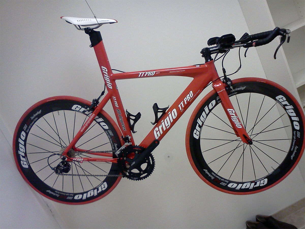 TT Pro Triathlon Time Trial Bike TT Carbon Wheels Grigio Red