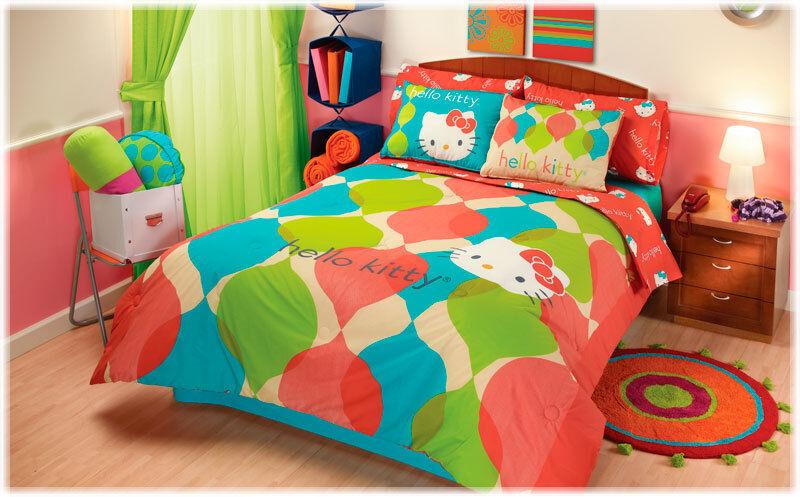 hello kitty bedroom on New Teens Red Hello Kitty Comforter Bedding Set Full 4   Ebay