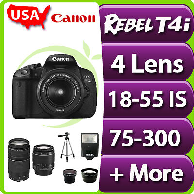 New USA CANON EOS Digital Rebel T4i SLR Camera with 18-55 IS 75-300 mm and More in Cameras & Photo, Digital Cameras | eBay