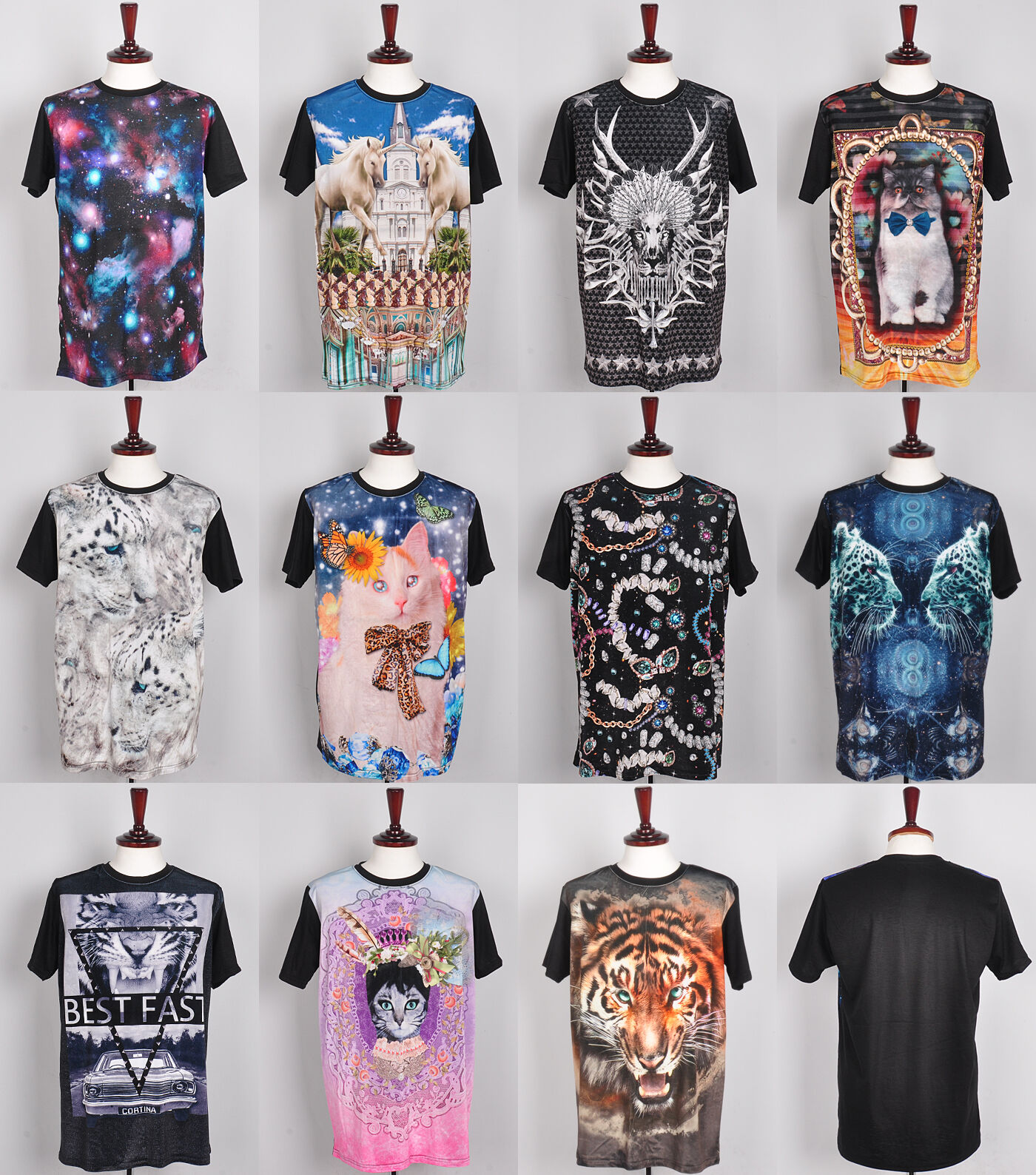 New Unisex womens Velvet galaxy space t shirt cat print short sleeve top blouse