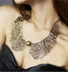 New-Vintage-Bronze-Hollow-Metal-Carve-Flower-False-Collar-Choker-Bib-Necklace