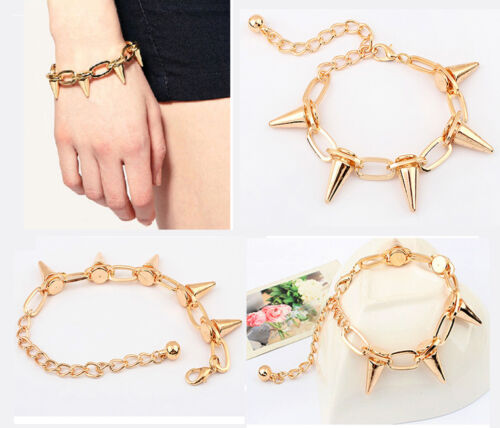 New Vintage Fashion Women Lady Punk Rock Rivet Spike Studs Bracelet Bangle Chain in Clothing, Shoes & Accessories, Women's Accessories, Other | eBay