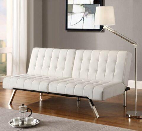 new white faux leather sofa bed futon click clack convertible couch klik klak ebay. Black Bedroom Furniture Sets. Home Design Ideas