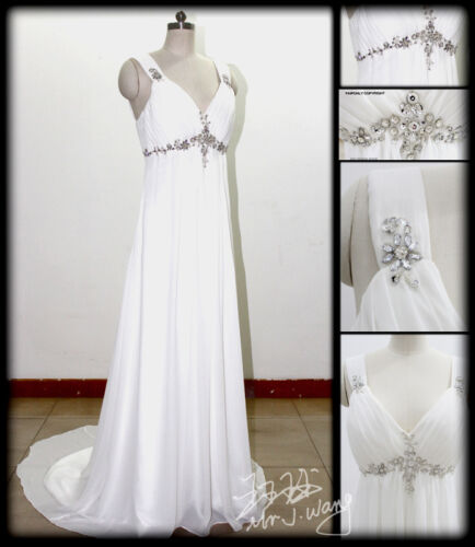 New White/Ivory Chiffon Beach Wedding Dress Bridal Gown Stock Sz 6 8 10 12 14 16 in Clothing, Shoes & Accessories, Wedding & Formal Occasion, Wedding Dresses | eBay