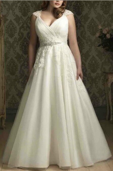 new white ivory plus size wedding dress size 6 8 10 12 14