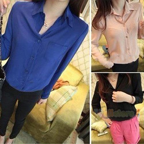Women Chiffon Pocket Button Down Shirt Casual Blouse Stylish Top Colors R-37