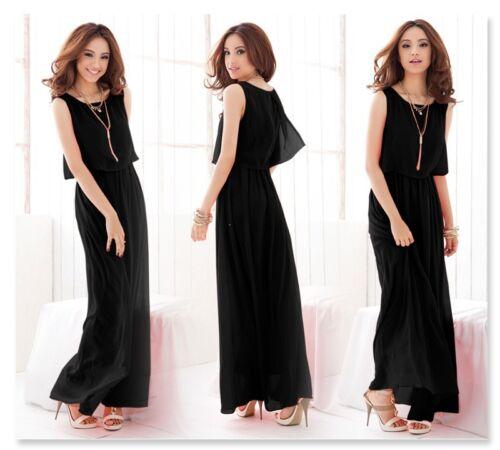 New Women Ladies Boho Maxi Dress Chiffon Sleeveless Pleated Long Sundress S M L