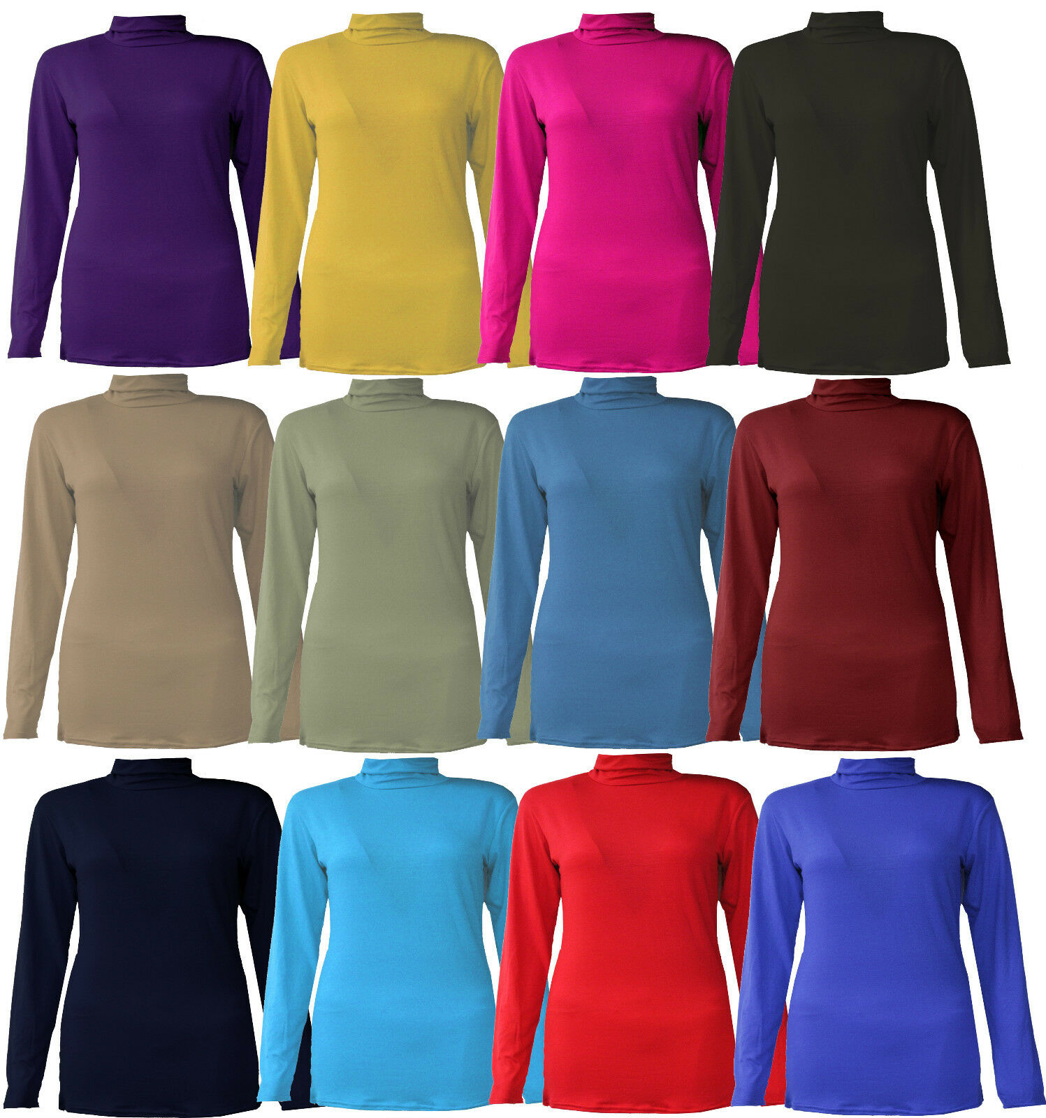 New women ladies girls full sleeve polo turtle neck for Full sleeve polo t shirts