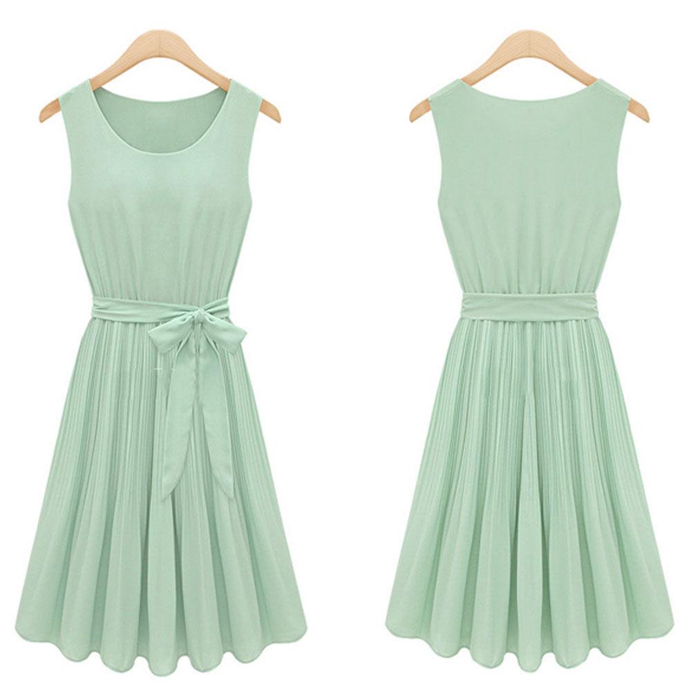 New Women Pleated Chiffon Bow Belt Sleeveless Skirt Vest Casual Dress Summer Hot