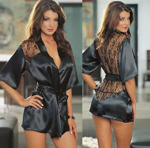 New-Women-Sexy-Satin-Lace-Lingerie-Sleepwear-Nightdress-Robe-J