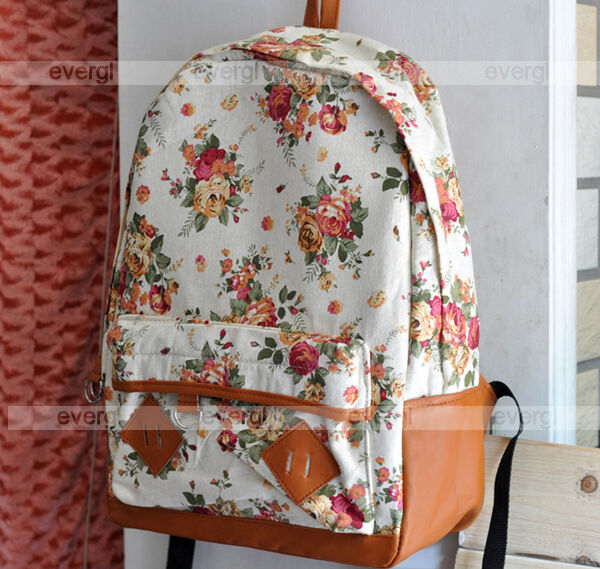 New Women Girl Lady Fashion Vintage Cute Flower School Book Campus Bag Backpack